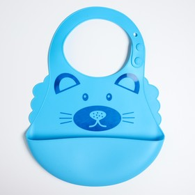 Нагрудник силиконовый с карманом, «Котик», цвет голубой