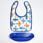 Нагрудник непромокаемый, с карманом, цвет синий, рисунок МИКС - фото 105449940