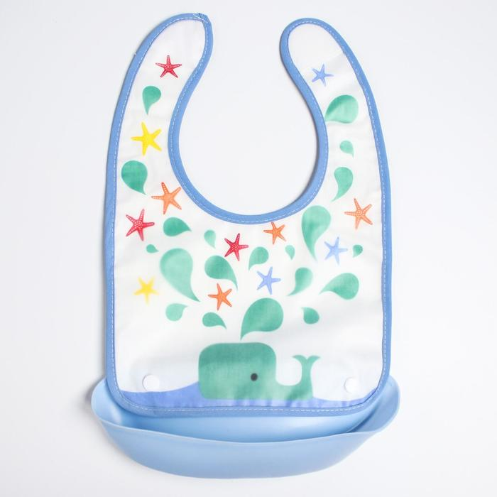 Нагрудник непромокаемый, с карманом, цвет голубой, рисунок МИКС