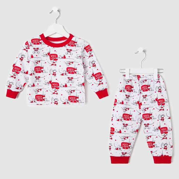 Пижама детская, цвет белый/mouse, рост 104 см