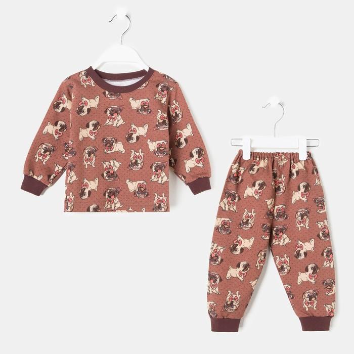 Пижама детская, цвет коричневый/собака, рост 104 см