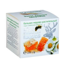 Balm Siberian healer Honey with pieces of antlers of maral, 100 g