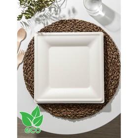 Тарелка одноразовая квадратная ECO, 26×26 см, 3 шт/уп, сахарный тростник