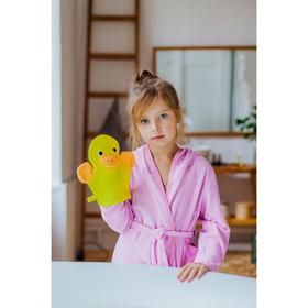 Мочалка-варежка детская с петелькой Доляна «Уточка», 23 см