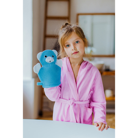 Мочалка-варежка детская с петелькой Доляна «Мишка», 23 см