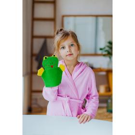 Мочалка-варежка детская с петелькой Доляна «Лягушонок», 23 см