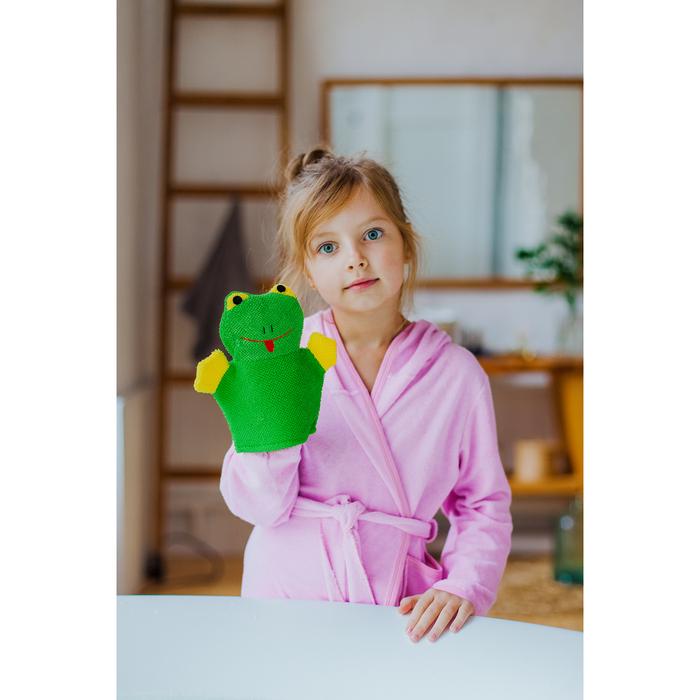 "Мочалка-варежка детская с петелькой ""Лягушонок"" - фото 964012"
