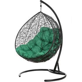 Двойное подвесное кресло, 195 × 135 × 75 см, black (зелёная подушка), «Gemini promo»