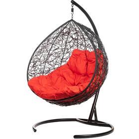 Двойное подвесное кресло, 195 × 135 × 75 см, black (красная подушка), «Gemini promo»
