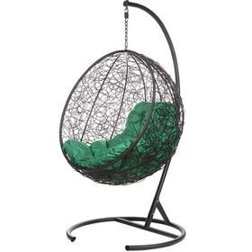 """Подвесное кресло """"Kokos» Black (зеленая подушка) 195*95*75 см"""