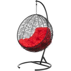 """Подвесное кресло """"Kokos» Black (красная подушка) 195*95*75 см"""