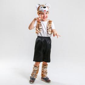 Карнавальный костюм 'Тигренок'шапка,жилет,унты , шорты р-р32 рост122-128 Ош