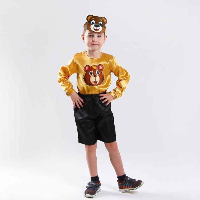 Карнавальный костюм «Медвежонок», рубашка, шорты, маска из картона, р. 32, рост 122-128 см - фото 105520919