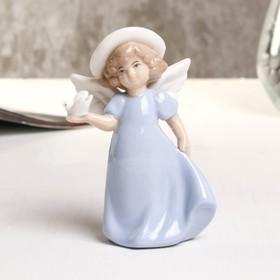 """Souvenir porcelain """"angel with dove"""" blue 7.6x4.8x10.8 cm"""