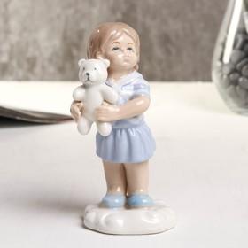 "Souvenir porcelain ""Girl with bear"" blue 6x5.2x10.2 cm"