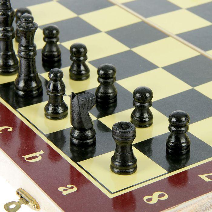 Игра настольная 3 в 1: нарды, шахматы, шашки, поле 39 × 39 см, в плёнке