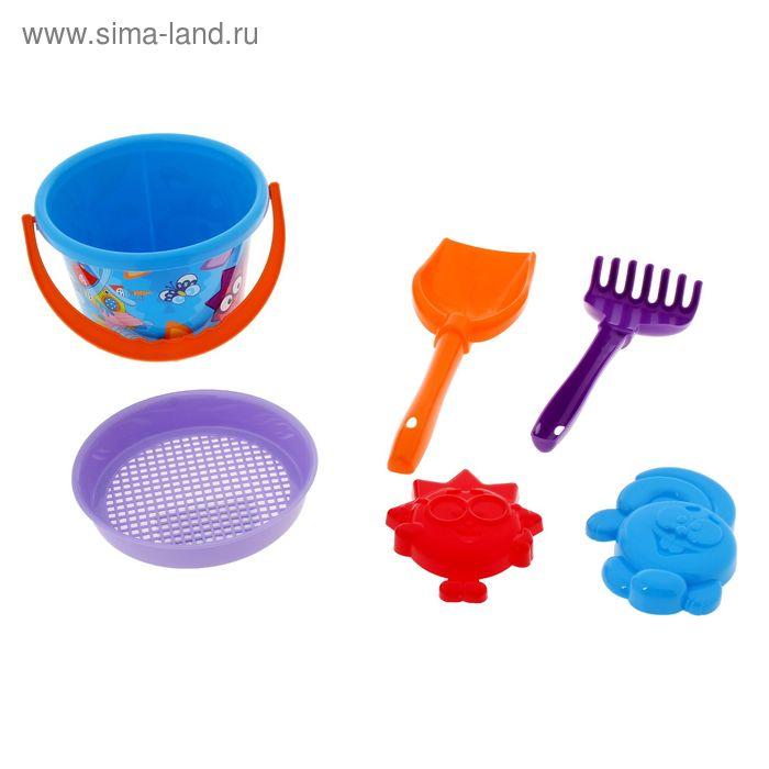 Песочный набор №14: ведро среднее, ситечко, лопатка, грабельки, 2 формочки цвета, МИКС