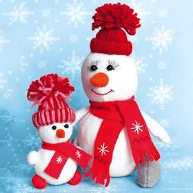 """Набор для создания игрушки из фетра серия """"Снегомама и снегодочка"""" 16,5 см и 10,5 см"""