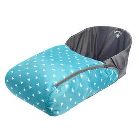 Сиденье для санок с чехлом для ног универсальное, принт с треугольниками, цвет бирюзовый