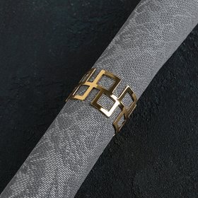 Кольцо для салфетки «Гео», 4,5×3 см, цвет золотой