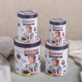 Набор банок для сыпучих продуктов Coffee, 4 шт: 10,6×14/8,8×12,5/7,5×11/6×9 см