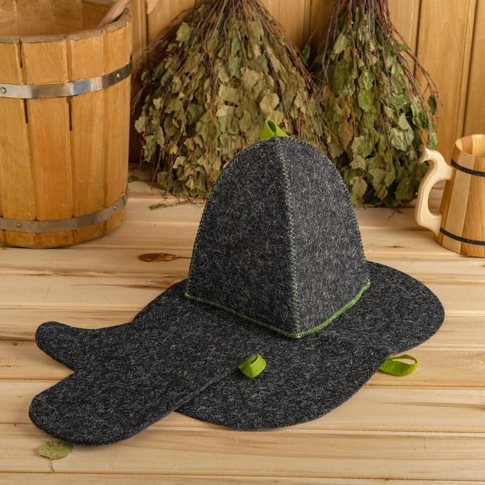 Набор для бани и сауны «Классический»: шапка, варежка, коврик, серый