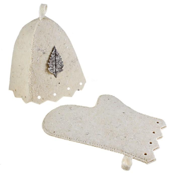 Набор для бани и сауны «Классический»: шапка, рукавица, белый