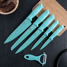 Набор «Клауд», 6 предметов: 5 ножей и овощечистка из керамики, цвет бирюзовый