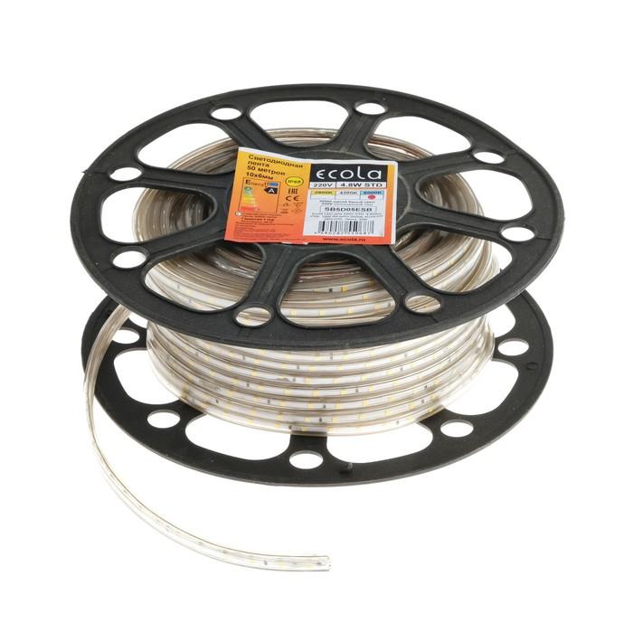 Светодиодная лента Ecola, 60Led/m, 4.8 Вт/м, 240 Лм/м, 4Lm/LED, 6000 К, IP68, 50 м,10 мм