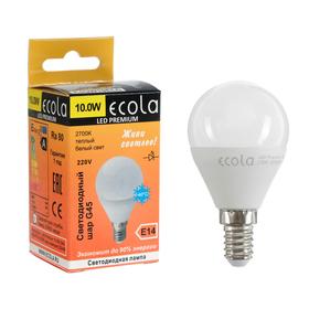 Лампа светодиодная Ecola globe LED Premium, G45, 10 Вт, E14, 2700 K, шар, 82x45 мм