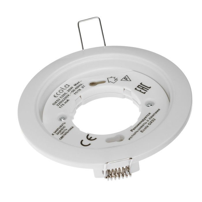 Светильник Ecola 5355, GX53, IP20, 220 В, встраиваемый, круглый, 25x106 мм, белый - фото 4466906