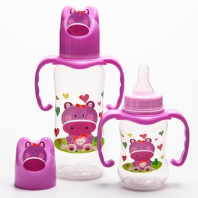 """Набор бутылочек для кормления """"Бегемотик"""" (125 мл, 300 мл.) цвет фиолетовый"""