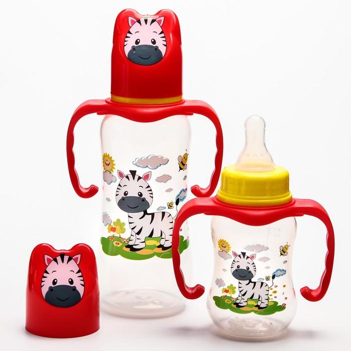 Набор бутылочек для кормления «Зебра» (125 мл, 300 мл.) цвет красный - фото 105537771