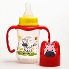 Набор бутылочек для кормления «Зебра» (125 мл, 300 мл.) цвет красный - фото 105537773