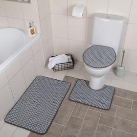 "Набор ковриков для ванны и туалета 3 шт 37х44, 40х50, 50х80 см ""Свит"" цвет серый"