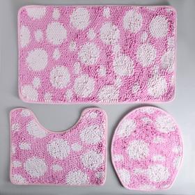 """Набор ковриков для ванной и туалета 2 шт """"Букли"""" 80x50, 50x40, 37х44 см, цвет бело-розовый"""