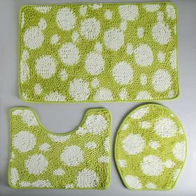 """Набор ковриков для ванной и туалета 2 шт """"Букли"""" 80x50, 50x40, 37х44 см, цвет бело-зеленый"""
