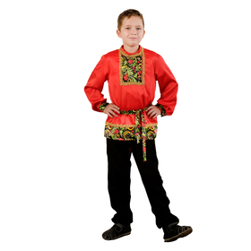 Carnival shirt for boy with inset Ryabinka p-R32 growth 122-128