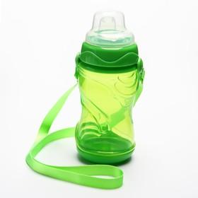 Поильник детский с мягким носиком, 300 мл., на ремещке, цвет зеленый