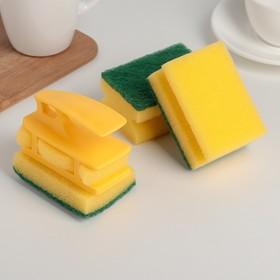 Набор губок кухонных с держателем Titiz, 6,5×8,8×4,5 см, 3 шт, цвет МИКС