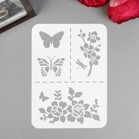 "Plastic stencil A5 ""Butterflies, flowers"""