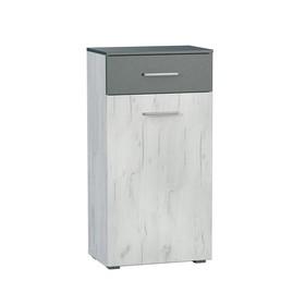 Комод Юнона, 550х352х1080, Дуб белый крафт/Серый шифер