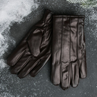 Gloves imitation leather brown
