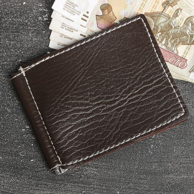 Money clip leather brown