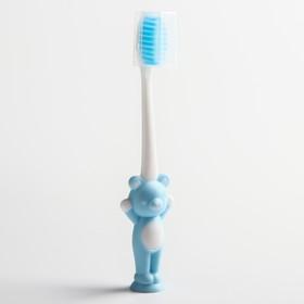 Детская зубная щетка на присоске «Мишка», с защитным колпачком, цвет МИКС - фото 7311096