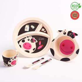 """Набор бамбуковой посуды """"Коровка"""",тарелка, миска, кружка, приборы, 5 предметов"""