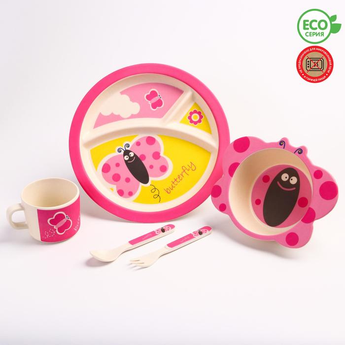 """Набор бамбуковой посуды """"Бабочка"""",тарелка, миска, кружка, приборы, 5 предметов - фото 105459478"""