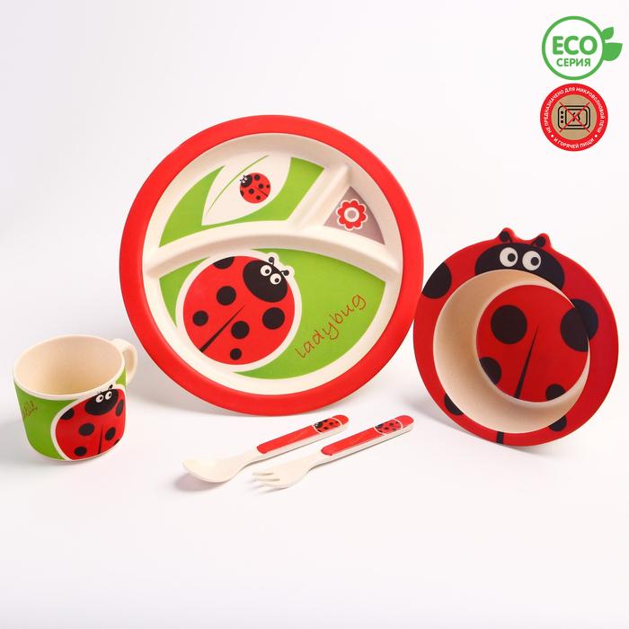 """Набор бамбуковой посуды """"Божья коровка"""",тарелка, миска, кружка, приборы, 5 предметов - фото 105459487"""