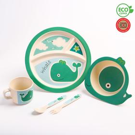 "A set of bamboo utensils ""Whale""plate, bowl, mug, Cutlery, 5-piece"