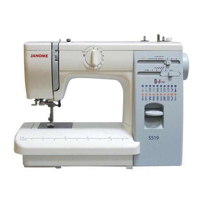 Швейная машина Janome 5519, 19 опер, обметочная, эластичная, потайная строчка, белый 239551